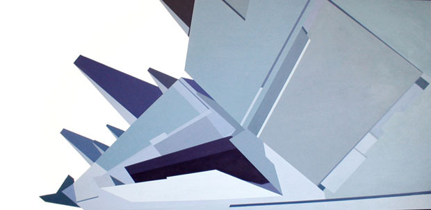 Airbus Wing<br> 2003<br> Acrylic on canvas<br> 40 x 80 inches (101 x 202 cm)