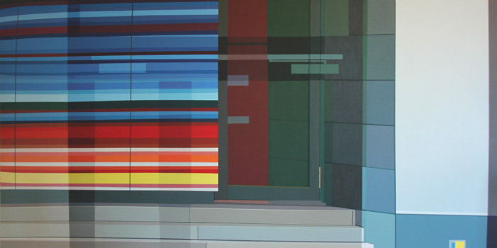Painting of reflected space, 132 x 264 cm (approx. 4 x 8 feet)